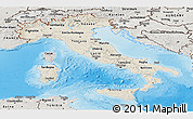 Shaded Relief Panoramic Map of Italy, semi-desaturated, land only