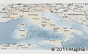 Shaded Relief Panoramic Map of Italy, semi-desaturated