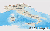 Shaded Relief Panoramic Map of Italy, single color outside