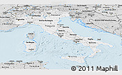 Silver Style Panoramic Map of Italy