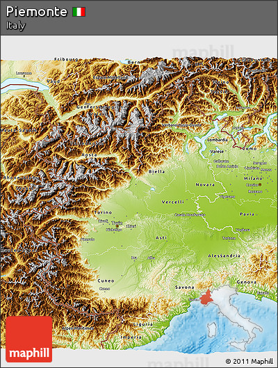 Physical 3D Map of Piemonte