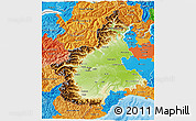 Physical 3D Map of Piemonte, political outside