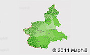 Political Shades 3D Map of Piemonte, cropped outside