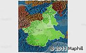 Political Shades 3D Map of Piemonte, darken