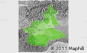 Political Shades 3D Map of Piemonte, desaturated