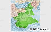 Political Shades 3D Map of Piemonte, lighten