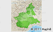 Political Shades 3D Map of Piemonte, shaded relief outside