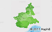 Political Shades 3D Map of Piemonte, single color outside