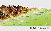 Physical Panoramic Map of Biella