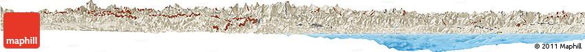 Shaded Relief Horizon Map of Piemonte