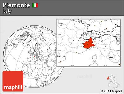 Blank Location Map of Piemonte
