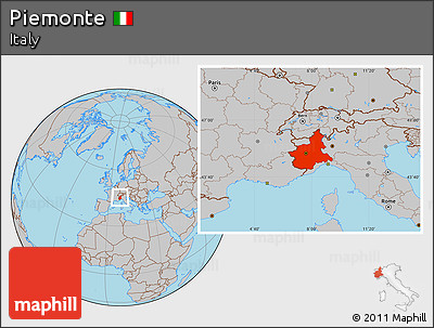 Gray Location Map of Piemonte