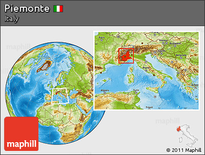 Physical Location Map of Piemonte, within the entire country