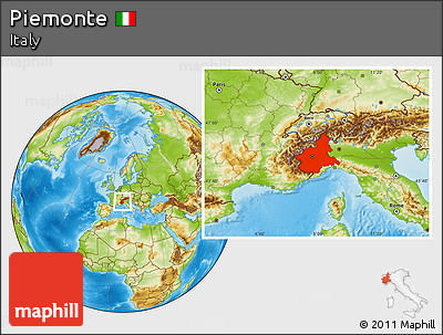 Physical Location Map of Piemonte