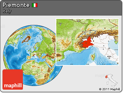 Physical Location Map of Piemonte, highlighted country