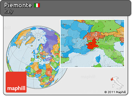 Political Location Map of Piemonte