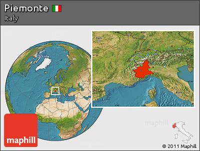 Satellite Location Map of Piemonte