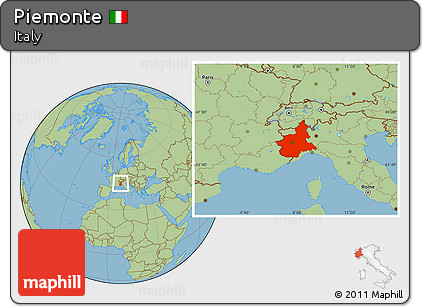 Savanna Style Location Map of Piemonte