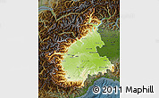 Physical Map of Piemonte, darken
