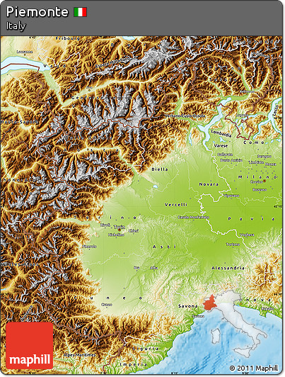 Physical Map of Piemonte