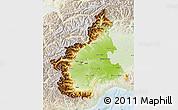 Physical Map of Piemonte, lighten
