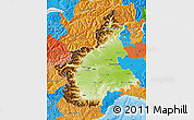 Physical Map of Piemonte, political outside