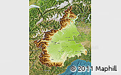 Physical Map of Piemonte, satellite outside