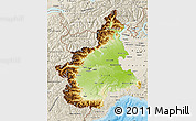 Physical Map of Piemonte, shaded relief outside