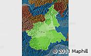 Political Shades Map of Piemonte, darken