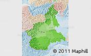 Political Shades Map of Piemonte, lighten