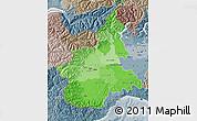 Political Shades Map of Piemonte, semi-desaturated