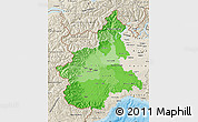 Political Shades Map of Piemonte, shaded relief outside