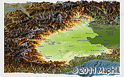 Physical Panoramic Map of Piemonte, darken