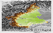 Physical Panoramic Map of Piemonte, desaturated