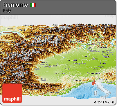 Physical Panoramic Map of Piemonte