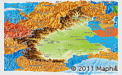 Physical Panoramic Map of Piemonte, political outside