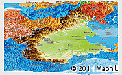 Physical Panoramic Map of Piemonte, political shades outside