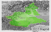 Political Shades Panoramic Map of Piemonte, desaturated