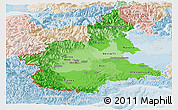 Political Shades Panoramic Map of Piemonte, lighten