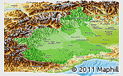 Political Shades Panoramic Map of Piemonte, physical outside
