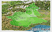 Political Shades Panoramic Map of Piemonte, satellite outside