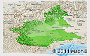 Political Shades Panoramic Map of Piemonte, shaded relief outside