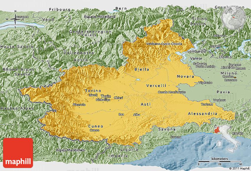 Savanna Style Panoramic Map Of Piemonte