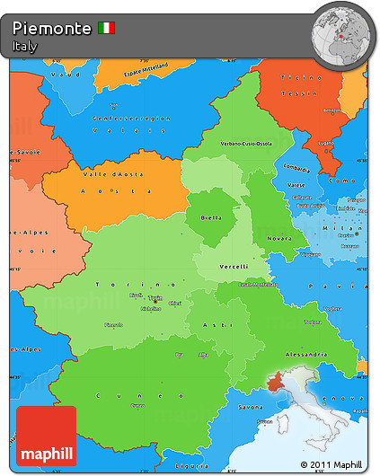 Political Shades Simple Map of Piemonte