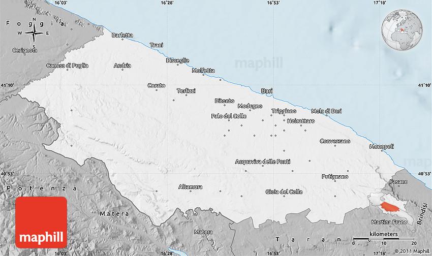 Gray Map Of Bari - Bari map