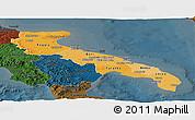 Political Shades Panoramic Map of Puglia, darken