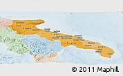 Political Shades Panoramic Map of Puglia, lighten