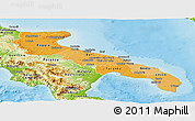 Political Shades Panoramic Map of Puglia, physical outside