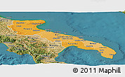 Political Shades Panoramic Map of Puglia, satellite outside
