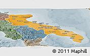 Political Shades Panoramic Map of Puglia, semi-desaturated